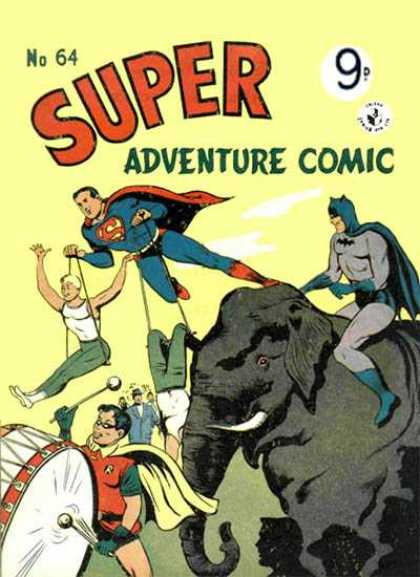 Super Adventure Comic 64 - Elephant - Superman - Drum - Clouds - Stick