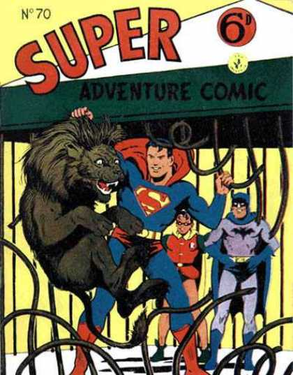 Super Adventure Comic 70 - Superman - Lion - Cage - Batman - Robin