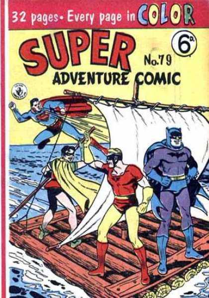 Super Adventure Comic 79 - Batman - Superman - Robin - Sail - Water