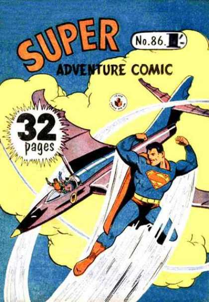 Super Adventure Comic 86 - Superman - Flying - Airplanes - Comics - Vintage