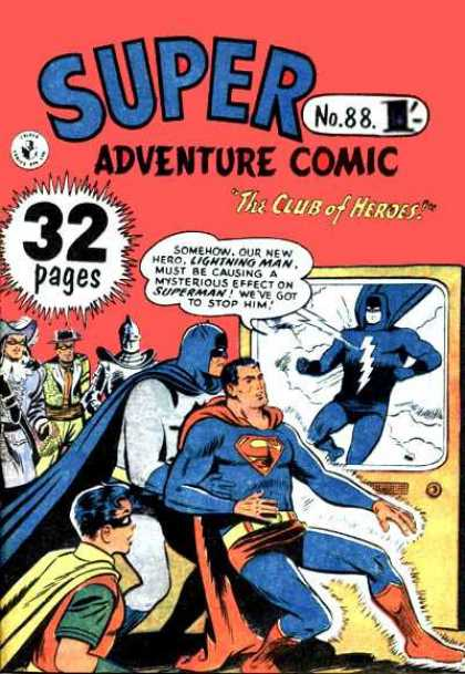 Super Adventure Comic 88 - Club Of Heroes - Lightning Man - Batman - Robin - Masked Heroes