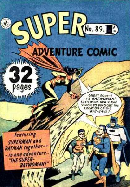 Super Adventure Comic 89 - The Super Batwoman - Superman - Batman - Robin - Bat-cave