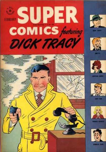 Super Comics 105 - February - Dicktracy - Yellow Ttrnchcoat - Smoking Gun - Telephone