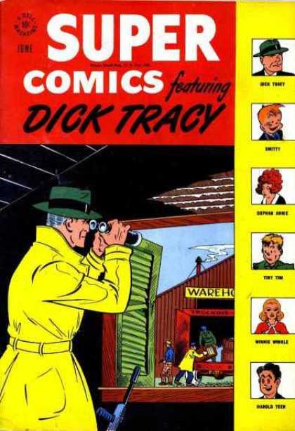Super Comics 109 - Dick Tracy - Yellow Trench Coat - Binoculars - Investigate - Detective