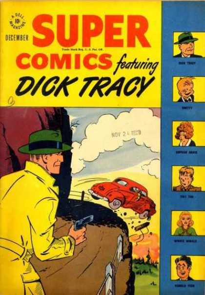 Super Comics 115 - Dick Tracy - Car Off Cliff - Cop - Detective - Green Hat
