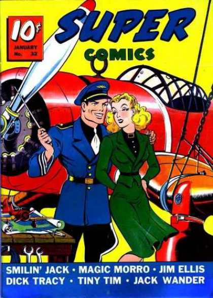 Super Comics 32 - Airplane - Pilot - Blonde - Dick Tracy - Tools
