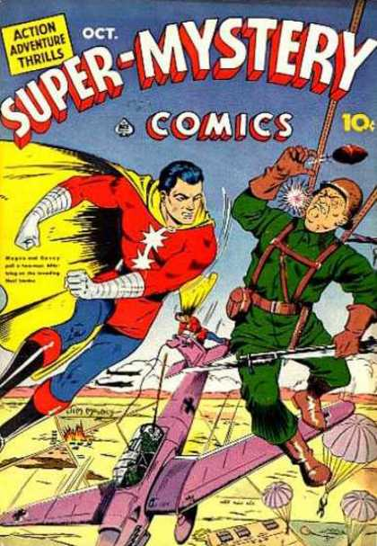 Super-Mystery Comics 10 - Super-mystery Comics October - Superman - Parachute - Airplane - Battlefield