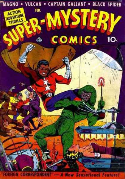 Super-Mystery Comics 12 - Lamp - Bed - Lying - Fight - Trouble