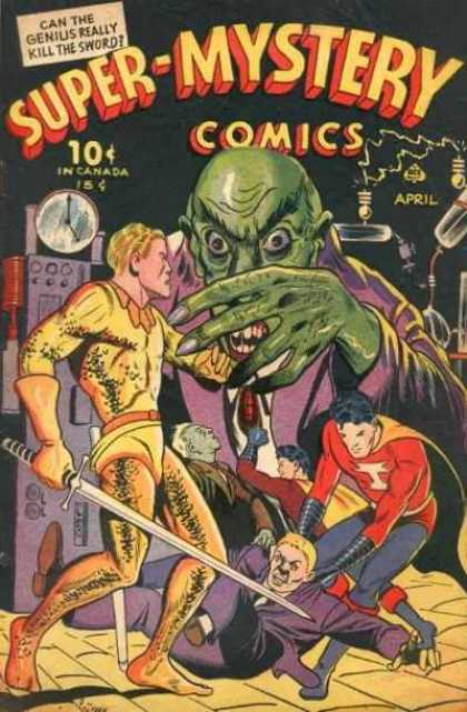 Super-Mystery Comics 24 - Can The Genius Really Kill The Sword - Green Monster - Long Sword - Yellow Suit - Genius