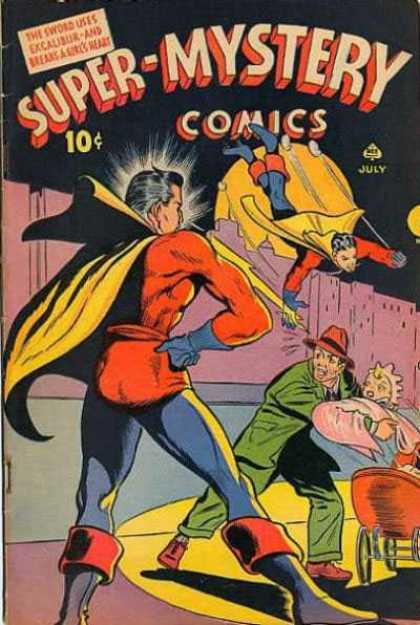 Super-Mystery Comics 25 - Excaubur - Superheroe - Baby - Man In The Hat - Resquing
