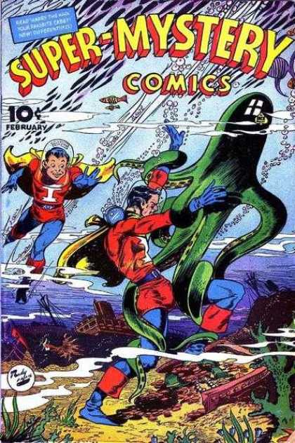 Super-Mystery Comics 28 - Superhero - Octopus - February - 10 Cents - Fish