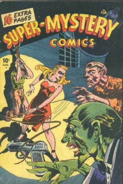 Super-Mystery Comics 31 - Whip - Woman In A Red Dress - Handgun - Tied-up - Ghouls