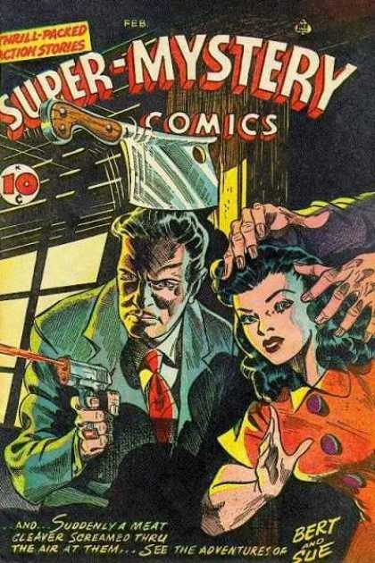Super-Mystery Comics 34 - Tie - Coat - Bert And Sue - Gun - Thrill Packed Action Stories