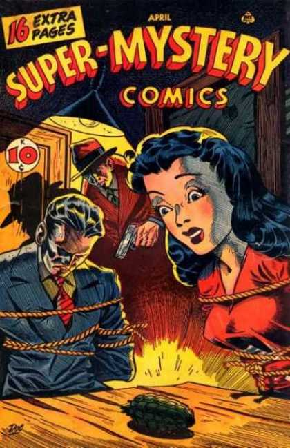 Super-Mystery Comics 35 - Grenade - Tied Woman - Tied Man - Bandit - Danger