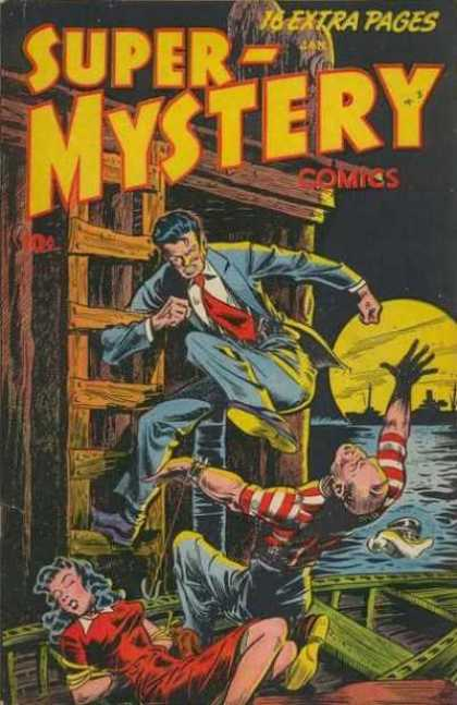 Super-Mystery Comics 39 - Fight - Fainted Woman - Boat - Kick - Water