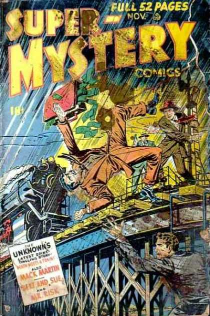Super-Mystery Comics 44 - Briefcase - Money - Man Falling - The Unknowns - Train