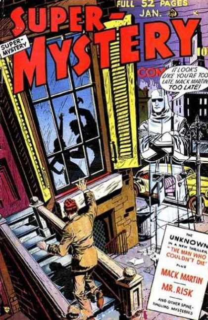 Super-Mystery Comics 45 - Ghost - Murder - Car - Shutters - Window