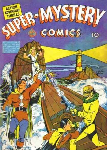Super-Mystery Comics 7 - Lighthouse - Damsel In Distress - Speedboat - Hero And Sidekick - Rocky Surf