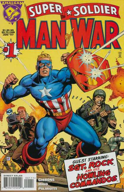 Super Soldier: Man of War 1 - Super Soldier - Man Of War - Captain America - Sgt Rock And His Howling Commandos - Amalgam Comics - Dave Gibbons