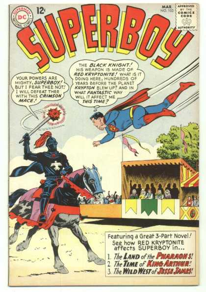 Superboy 103 - Black Knight - King Arthur - Red Kryptonite - Mace - Horse - Curt Swan