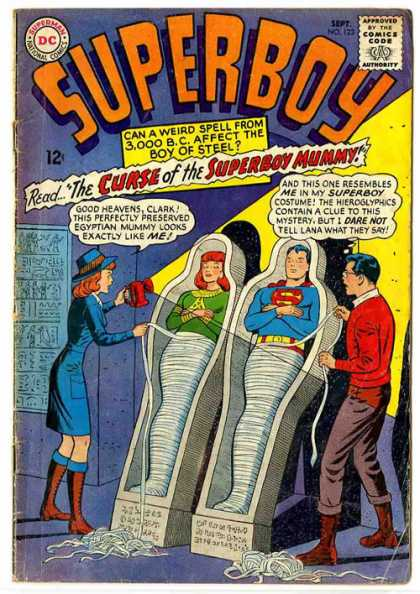 Superboy 123 - Mummy - Clark Kent - Flash Light - Curse Of Superboy Mummy - Coffins - Curt Swan