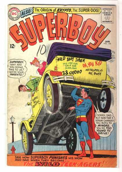 Superboy 126 - Car - Teenagers - The Origin Of Krypto The Super-dog - Super Boy - Yellow Car - Curt Swan