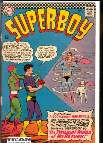 Superboy 128 - Kryptonite Kid - Superman - Phantom Zone - Krypton - Knave - Curt Swan