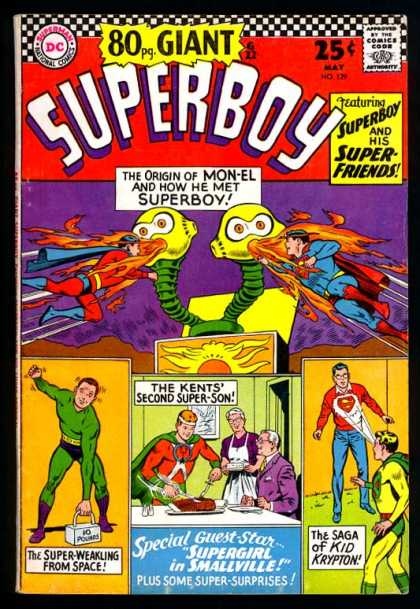 Superboy 129 - May Issue - Bonus Issue - Two Headed Villian - Able To Fight Fire - Multiple Super Heros - Curt Swan