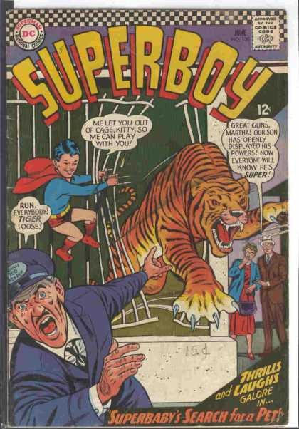 Superboy 130 - Tiger - Cage - Dc Comics - Zoo Keeper - Superbabys Search For Pets - Curt Swan