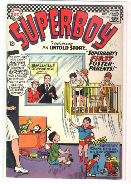 Superboy 133 - Foster Parents - Superbaby - Smallville Orphanage - Toy Train - Baby Crib - Curt Swan