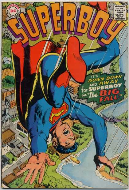 Superboy 143 - National Comics - Falling - Houses - River - Down Down - Neal Adams