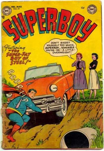Superboy 24 - Car - Fat - Pipe - Rip - Overweight - Tom Grummett
