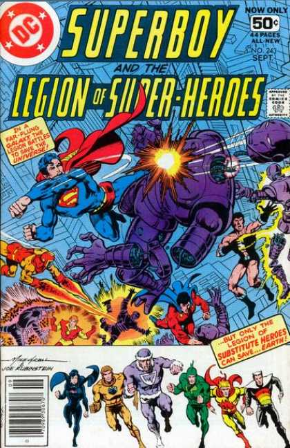 Superboy - Legion of Super-Heroes - Dc - 50c 44pages - No243 Sept - Legion Of Super Heroes - Buy Only Legion Of Substitute Heroes - Josef Rubinstein, Mike Grell