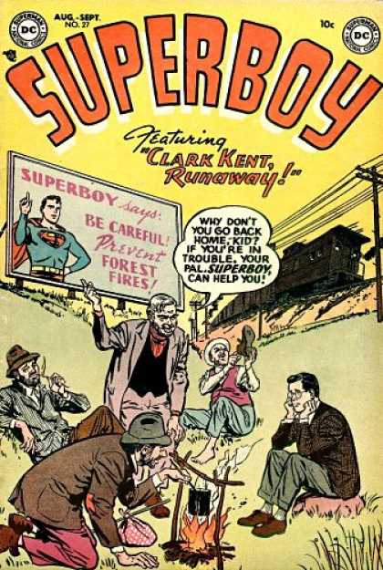 Superboy 27 - Train - Hobos - Young Clark - Campfire - Telephone Wires - Tom Grummett