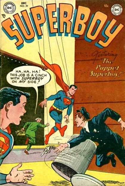 Superboy 29 - Gun - Puppet - Cop - Thief - Trashcan - Tom Grummett