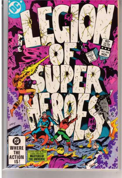 Superboy - Legion of Super-Heroes - Superman - White Letters - Legion - Super Heroes - Firing At Stones