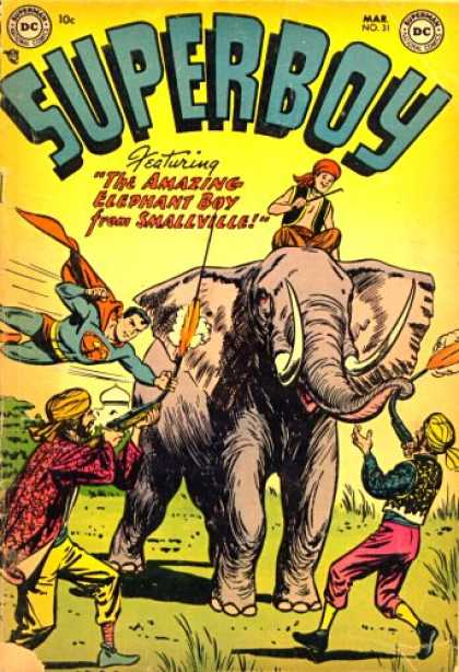 Superboy 31 - Elephant - India - Smallville - Gun - Tom Grummett