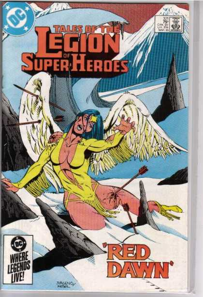 Superboy - Legion of Super-Heroes - Woman - Wings - Rock - Land - Mountain