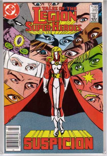 Superboy - Legion of Super-Heroes - Tales Of The Legion Of Superheroes - Pairs Of Eyes - Suspicion - Lady Hero In Red And White With White Boots - Gazing Toward Center