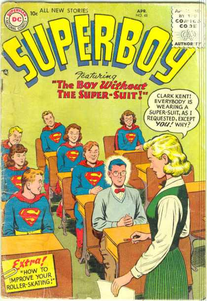 Superboy 48 - Teacher - Super-suit - Students - Class - Clark Kent - Curt Swan, Tom Grummett