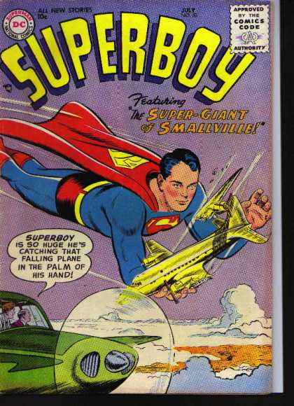Superboy 50 - Plane - Smallville - Giant - Rescue - Strange - Curt Swan, Tom Grummett