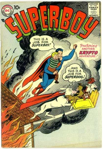 Superboy 56 - Fire - Dog - Smoke - Curt Swan, Tom Grummett