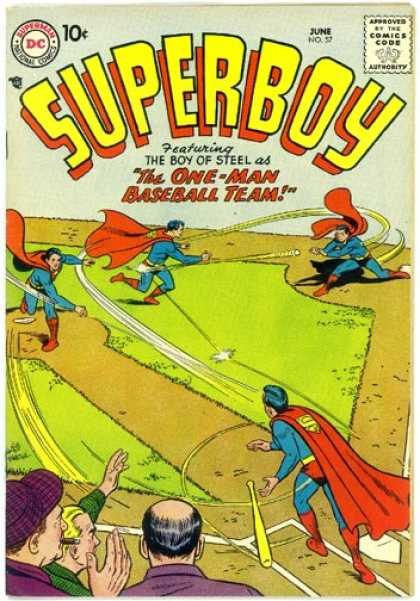 Superboy 57 - Baseball - Crowd - Curt Swan, Tom Grummett