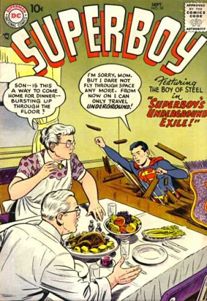 Superboy 59 - Dinner - Dinner Table - Grandma - Grandpa - Kitchen - Tom Grummett