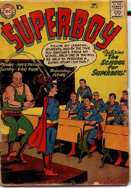 Superboy 61 - Hammer - School - X-ray - Strength - Class - Curt Swan, Tom Grummett