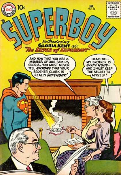 Superboy 62 - Pa Kent - Ma Kent - Gloria Kent - Heat Vision - Approved By The Comics Code Authority - Curt Swan, Tom Grummett