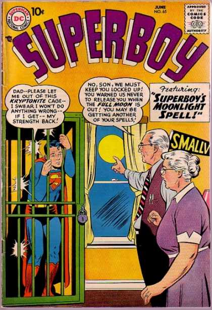 Superboy 65 - Kryponite Cage - Small - Full Moon - Moonlight Spell - Lock - Curt Swan, Tom Grummett