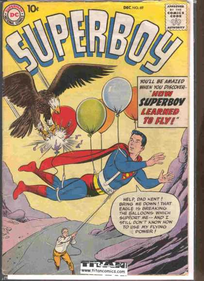 Superboy 69 - Eagle - Balloons - Fly - Dad Kent - Pa Kent - Curt Swan, Tom Grummett