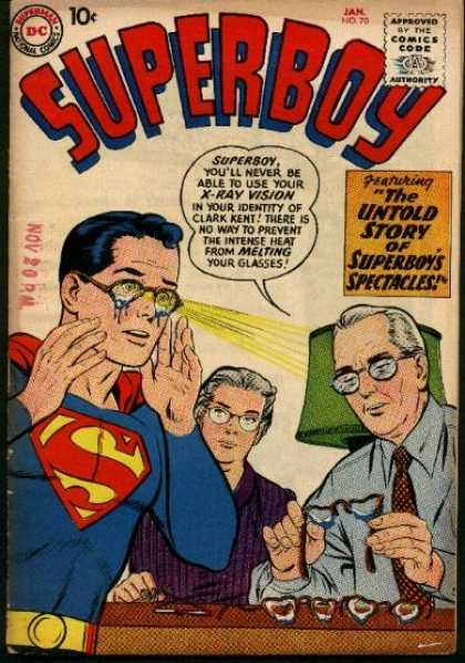 Superboy 70 - X-ray Vision - Glasses - Spectacles - Parents - Melting - Curt Swan, Tom Grummett