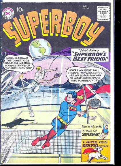 Superboy 77 - Tennis - A Super Dog Crypto Story - Superboys Best Friend - A Tale Of Superbaby - Gosh Clark - Curt Swan, Tom Grummett